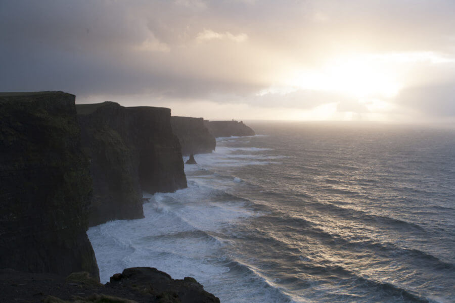 sunrise at the cliffs of moher
