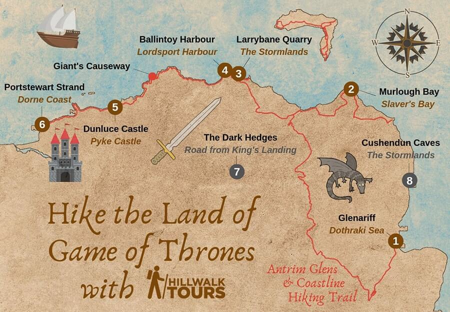 game of thrones filming locations ireland map