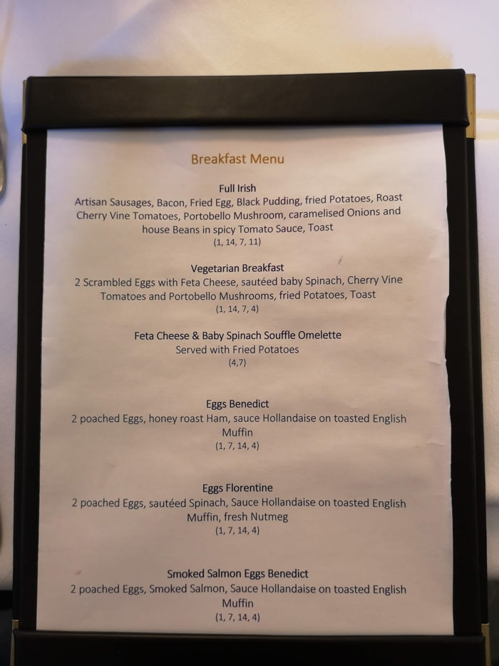 kilkea breakfast menu