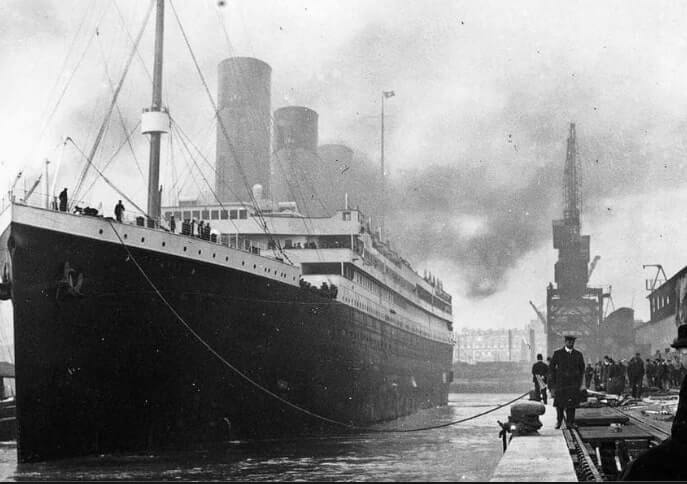 An old photo of the Titanic in Cobh