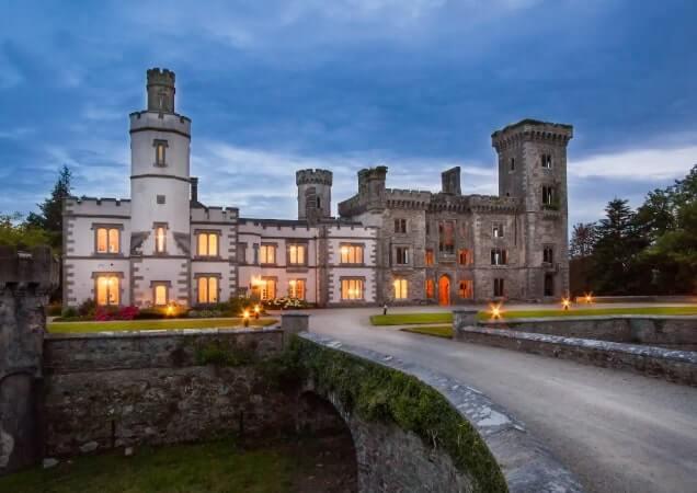 Wilton castle exterior at dusk