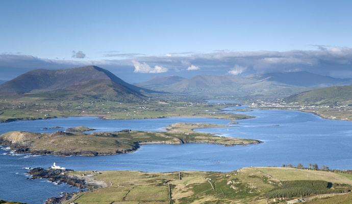 View from Valentia Island from Geokaum Mountain over Kerry Peninsula, Ireland
