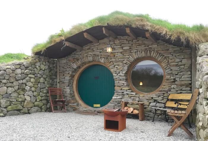exterior of hobbit hut