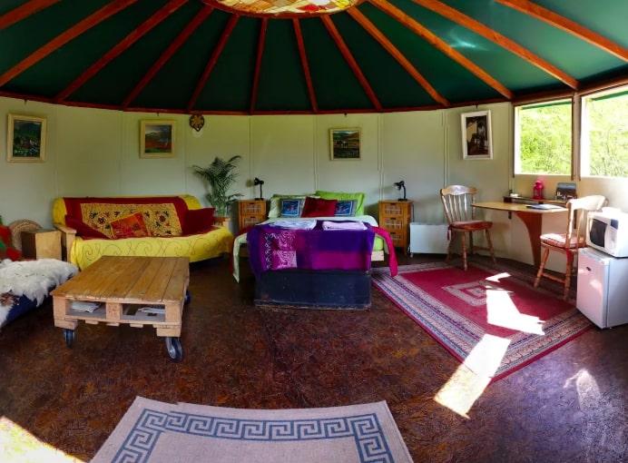 Insie the yurt tent