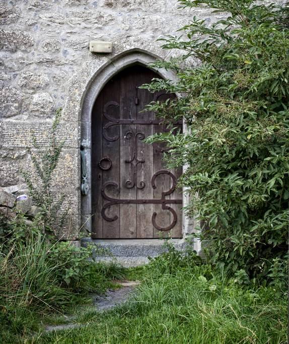 An old school door