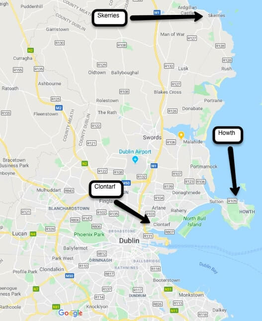 Howth skerries and clontarf on a map