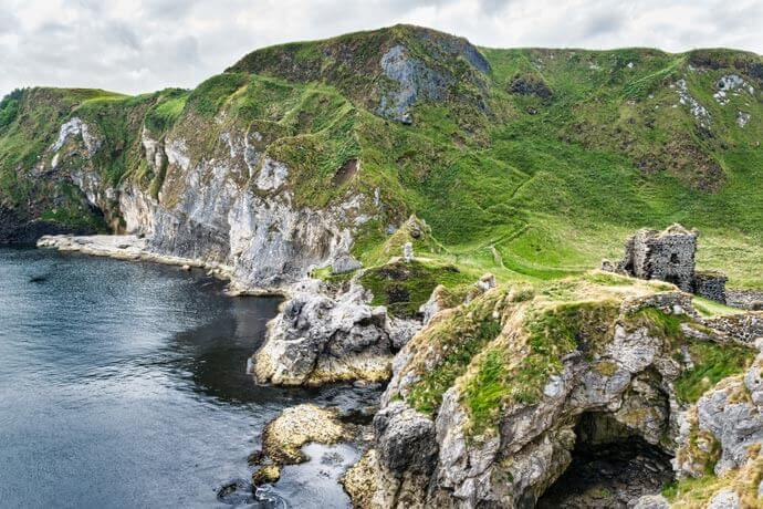 kinbane castle on the causeway coastal route