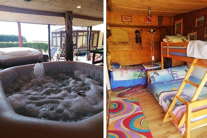 the hot tub and the inside