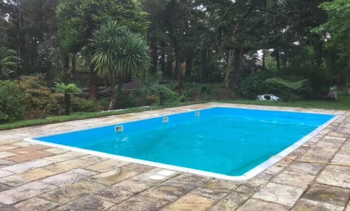 the pool outside the property