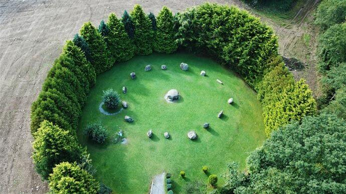 aerial view of the stone circle in kenmare ireland