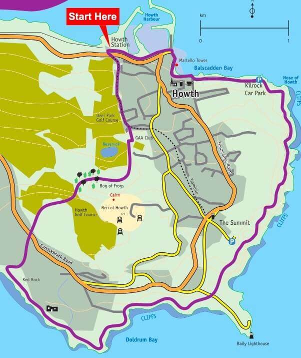 howth cliff path walk purple route