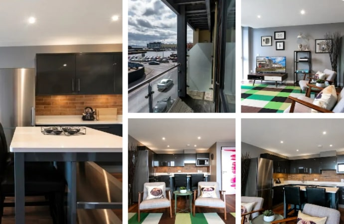 Harbour Apartment with Private Balcony and Parking in Galway
