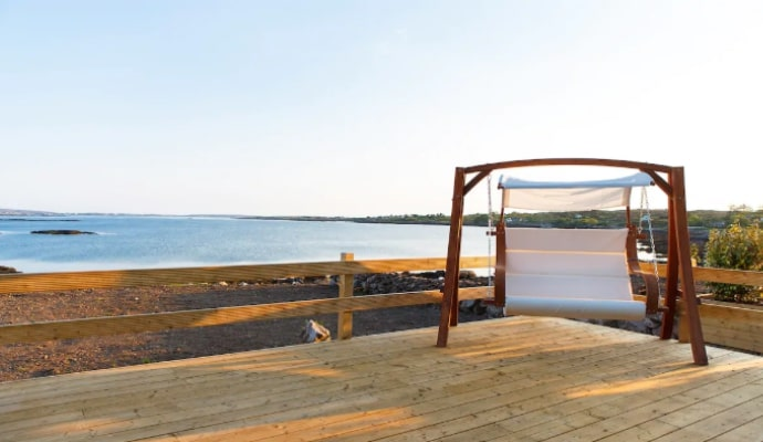 photo of swing with view on the deck