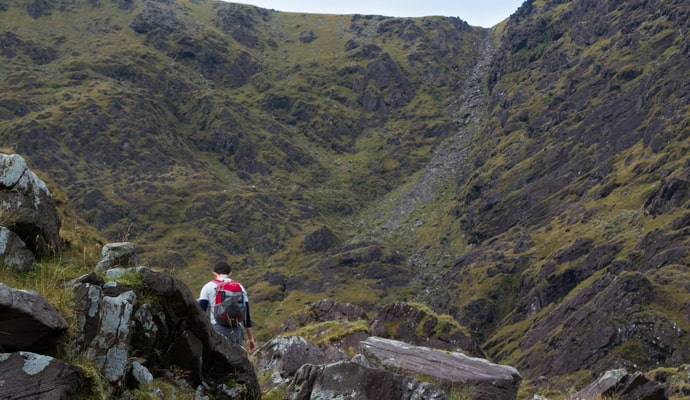 """A hiker approaches """"the devils ladder"""