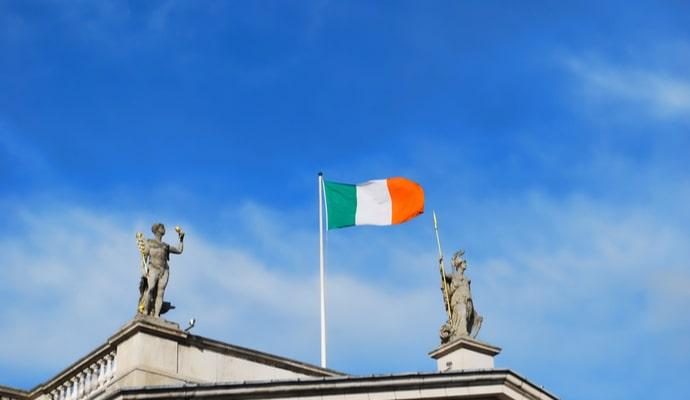 Photo of irish flag on building
