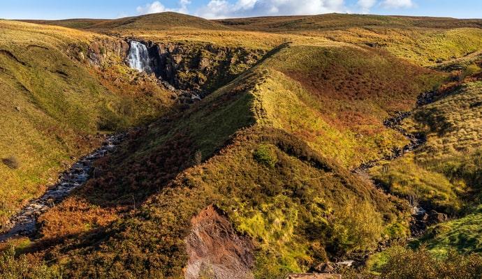Beautiful waterfall in Glenariff Forest Park in Antrim