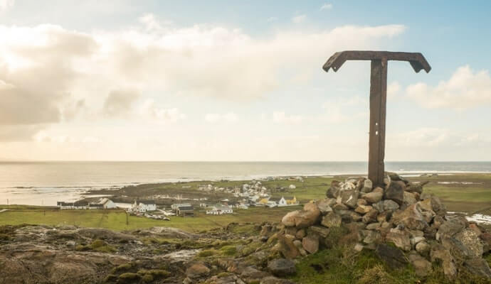 Overlooking Tory Island Village from the Metal Tau Cross, County Donegal, Ireland