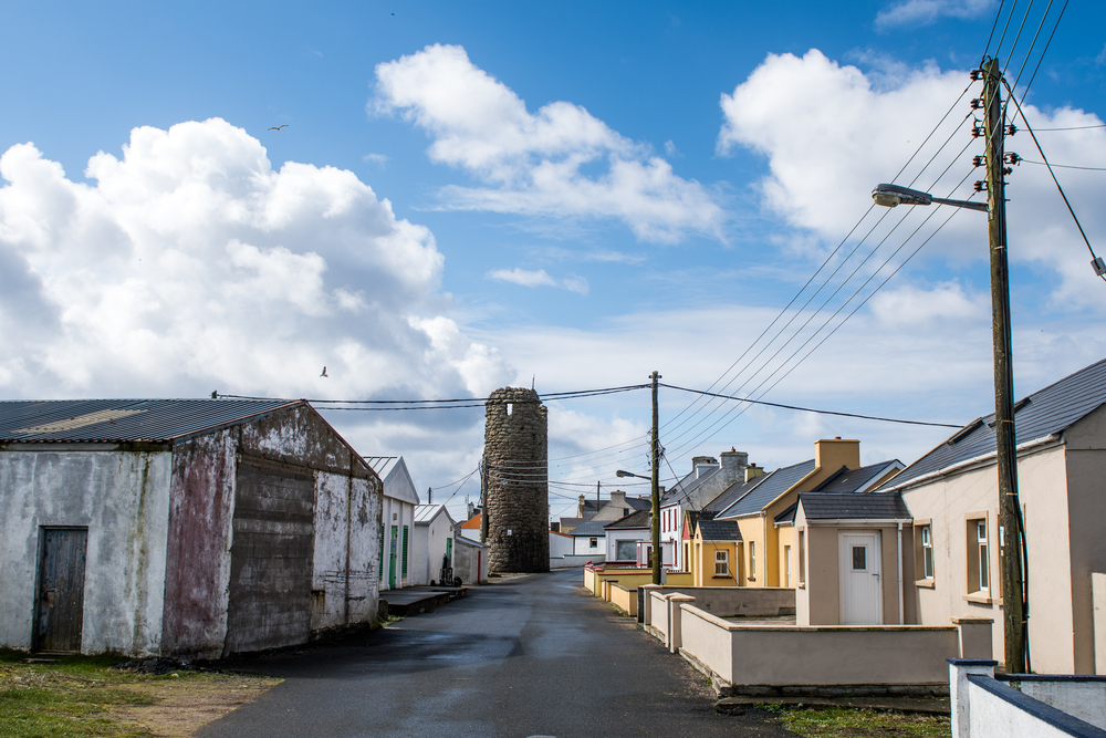 Main village road of the small irish island town of tory island I