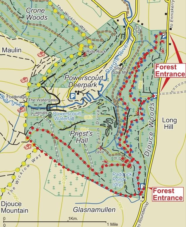 Djouce woods map