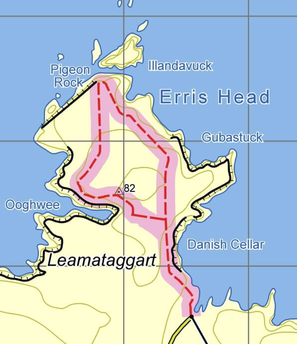 map of erris head
