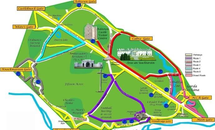 Phoenix Park map with walks